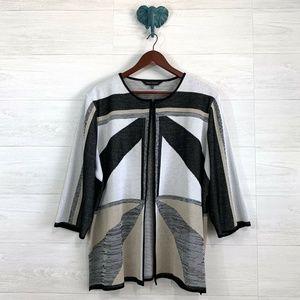 Ming Wang Natural Geometric Print Cardigan